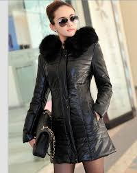 long women s leather jacket with fur