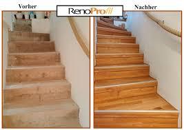 Kein staubintensives herausreißen des alten belags! Betontreppe Mit Parkett Belegt Treppenrenovierung Treppenverkleidung