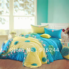 blue yellow korean princess bed skirt ed bed sheets 6pcs set 100 cotton luxury lace bedding king queen duvet cover mattress