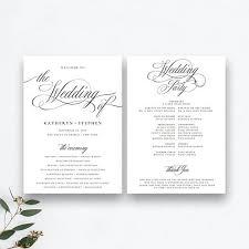 Templates For Wedding Programs Wedding Programs Templates Wedding Ceremony Programs Templates Printable Wedding Programs Template Diy Classic Elegant Wedding Programs