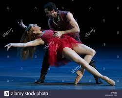 La Scala Ballet principal dancers Virna Toppi (front) and Christian Fagetti  perform in a scene from Russian composer Sergei Prokofiev's Cinderella  ballet staged by Mauro Bigonzetti, as part of a gala concert