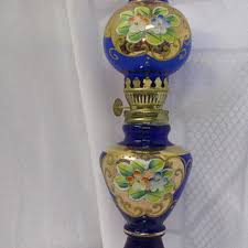 cobalt blue oil lamp vtg japan souvenir small vtg oil lamp vi