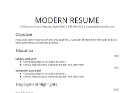 source google good objectives in a resume