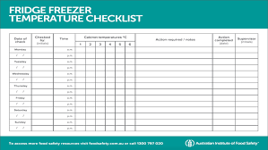 Refrigerator Temperature Chart Sample Fridge Freezer Temperature Checklist