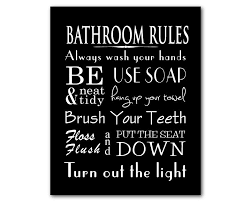 zoom on toilet rules wall art with bathroom wall art word art print bathroom rules