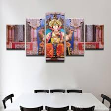 pls note it is unframed unstretched just paint on canvas if you need frame pls contact us  on modern framed wall pictures with new lord ganesha hinduism god painting 5 panel no frame wall art