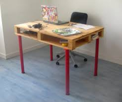 pallets into furniture. Pallet Desk With Red Legs Pallets Into Furniture U