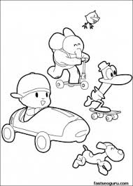 Small Picture Coloring pages print out Pocoyo Pato and Elly has race Printable