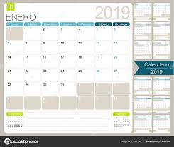 Spanish Calendar Planner 2019 Week Starts Monday Set Months January
