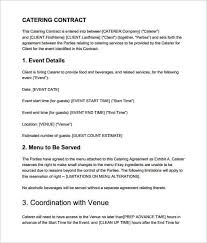 Example Of Catering Contract Catering Contract Templates Word Excel Fomats