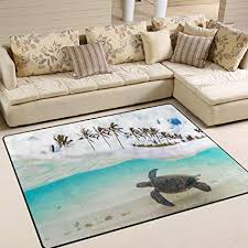 remarkable hawaiian area rugs com alaza tropical hawaiian green sea turtle palm tree area
