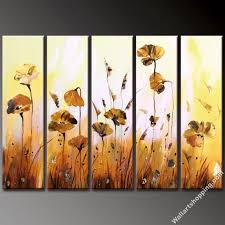 sepia poppy flowers and daisies modern canvas art wall decor fl oil painting wall art hang