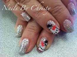 Christmas Nail Designs Shellac Sparkly Snowman Winter Art Shellac Nails Shellac Nails