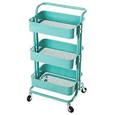 HollyHOME 3-Tier Metal Utility Service Cart Rolling Storage Shelves with  Handles, Blue Storage