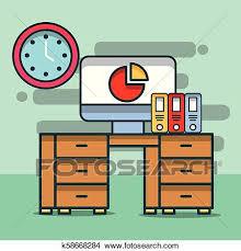 Computer Chart Report Binders Clock Desk Furniture Office