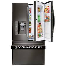 refrigerator. lg 30cuft 3-door french door super capacity refrigerator with door-in-door r