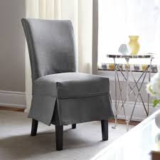 grey dining room chair covers paula deen chairs table sets with elastic seat linen kitchen black slipcovers damask short round slipcover waterproof wing