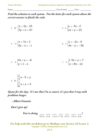 solve the system by the addition method math free math worksheets systems of equations elimination method