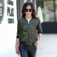 top leather jacket women coat female fashion casual solid stand collar women short leather jacket baseball clothing