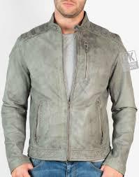 mens vintage grey leather biker jacket kestrel front