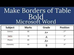 how to make table borders bold in