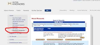 Hilton Hhonors Reward Chart How To Search For Hilton Hotels By Reward Category