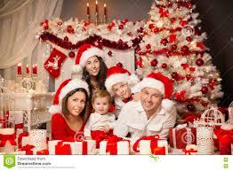 Christmas Family Photo Christmas Family Portrait Room Interior Xmas Tree Present Gift
