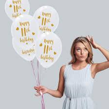 Amazon.com: White 11th Birthday Latex Balloons, 12inch (16pcs) Girl Boy  Gold Happy 11th Birthday Party Decorations Supplies: Kitchen & Dining