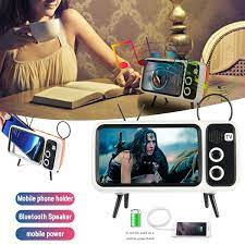 Portable 3 In 1 Wireless Bluetooth Speaker with Power Bank Function Phone  Bracket BT Speaker Audio Retro TV Shaped Travel Gifts|Party Favors