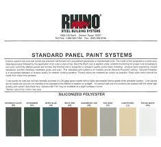 Rhino Liner Color Chart Steel Building Colors Metal Building Color Schemes