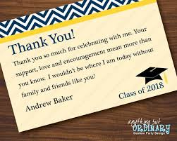 Graduation Thank You Note Navy And Yellow Graduation Thank You Note Chevron Top Flat