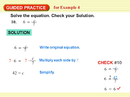 solve the equation check your solution 10 6 c 7