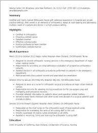 Resume Templates: Orthopedic Nurse