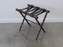 art deco adnet style faux bamboo and leather luggage rack for