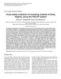 food safety evaluation in boarding school in zaria ia using  food safety evaluation in boarding school in zaria ia using the haccp system pdf available