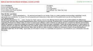 Waiter Waitress Informal Job Cover Letter
