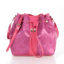 Coach Drawstring Medium Pink Shoulder Bags FCC
