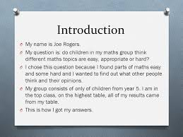 do children in my maths group think different maths topics are 2 introduction