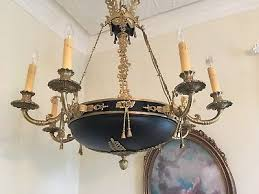 antique vintage french empire extra large black tole chandelier