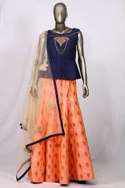 Crop Top Design Pattern Fancy Designs On Blue And Peach Raw Silk Occasion Wear Crop