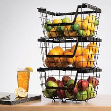 Amazon.com: Giftburg 3-Piece 3 Tier Stacking Fruit Utility Multipurpose  Stackable Baskets: Home & Kitchen