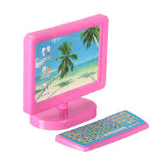 Miniature Pink puter Fax Machine Furniture For Barbie Dollhouse
