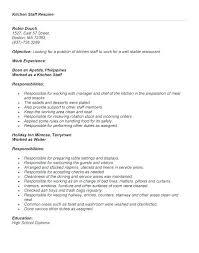 Kitchen Resume Samples Tfei Info