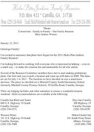 Family Reunion Letter Templates Hicks Pitts Jenkins Family Reunion Family Pinterest Family 1