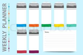 Weekly Planner With Timeline A Chart Stock Vector