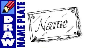 how to draw a name plate real easy
