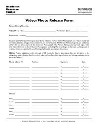 Video Release Form Sample Forms