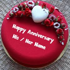 Write Names On Wedding Anniversary Cake Picture Edit Photo