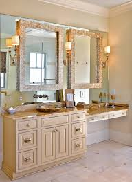 innovative lighted vanity mirror in bathroom traditional with mirrored wall next to makeup table bathroom vanity alongside