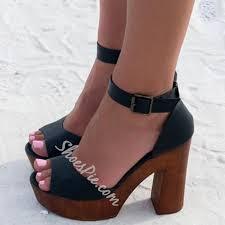 shoespie black wooden platform heel sandals